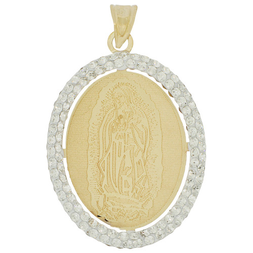14k Tricolor Gold, Reversible Religious Crucifixion Christ Virgin Mary Pendant Charm Created CZ 20mm (P036-043)