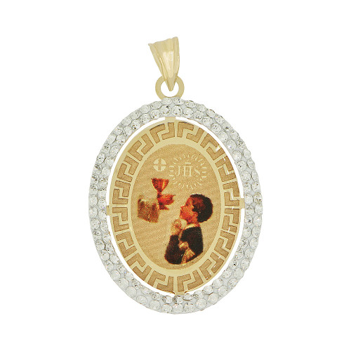 14k Yellow Gold, Reversible Religious Boy Communion & Virgin Mary Pendant Charm Created CZ Crystals (P036-048)