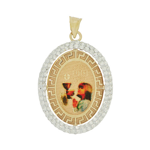 14k Yellow Gold, Reversible Religious Girl Communion & Virgin Mary Pendant Charm Created CZ (P036-049)