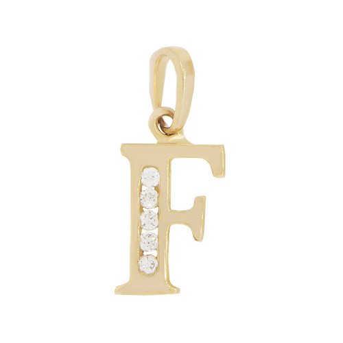 14k Yellow Gold, Small Initial Capital Letter F Pendant Charm Created CZ 7mm (P041-006)