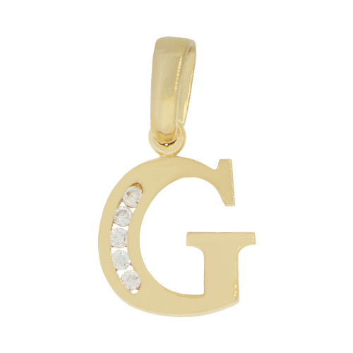 14k Yellow Gold, Small Initial Capital Letter G Pendant Charm Created CZ 10mm (P041-007)