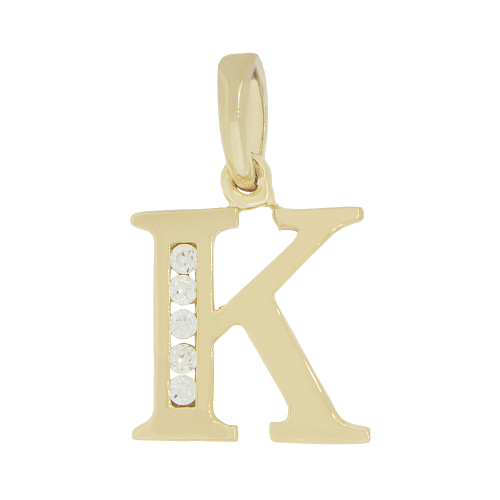 14k Yellow Gold, Small Initial Capital Letter K Pendant Charm Created CZ 10mm (P041-011)