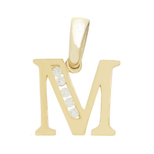 14k Yellow Gold, Small Initial Capital Letter M Pendant Charm Created CZ 10mm (P041-013)