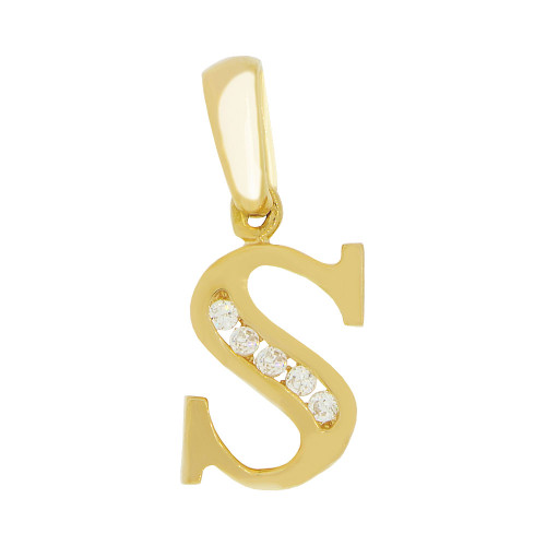 14k Yellow Gold, Small Initial Capital Letter S Pendant Charm Created CZ 8mm (P041-019)