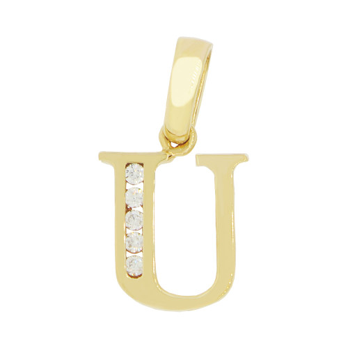 14k Yellow Gold, Small Initial Capital Letter U Pendant Charm Created CZ 9mm (P041-021)