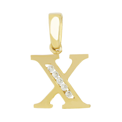 14k Yellow Gold, Small Initial Capital Letter X Pendant Charm Created CZ 11mm (P041-024)