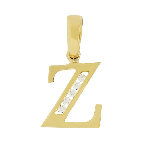 14k Yellow Gold, Small Initial Capital Letter Z Pendant Charm Created CZ 9mm (P041-026)