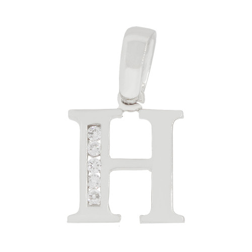 14k Gold White Rhodium, Small Initial Capital Letter H Pendant Charm Created CZ 11mm (P041-058)