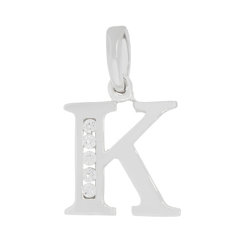 14k Gold White Rhodium, Small Initial Capital Letter K Pendant Charm Created CZ 10mm (P041-061)