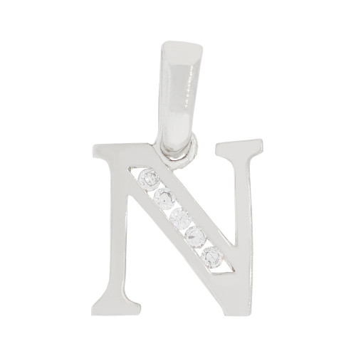 14k Gold White Rhodium, Small Initial Capital Letter N Pendant Charm Created CZ 9mm (P041-064)