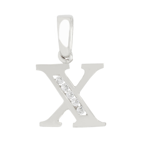 14k Gold White Rhodium, Small Initial Capital Letter X Pendant Charm Created CZ 11mm (P041-074)