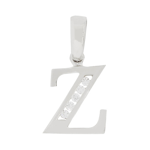 14k Gold White Rhodium, Small Initial Capital Letter Z Pendant Charm Created CZ 9mm (P041-076)