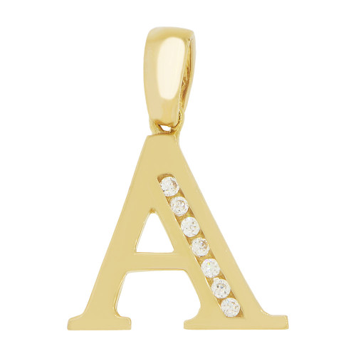 14k Yellow Gold, Initial Capital Letter A Pendant Charm Created CZ 14mm (P042-001)