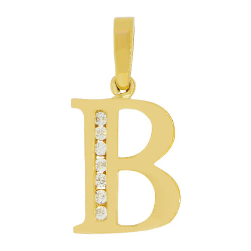 14k Yellow Gold, Initial Capital Letter B Pendant Charm Created CZ 12mm (P042-002)