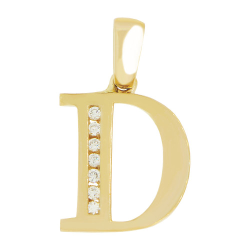 14k Yellow Gold, Initial Capital Letter D Pendant Charm Created CZ 10mm (P042-004)