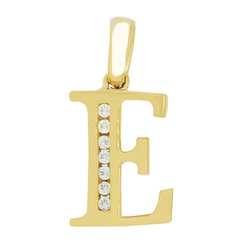 14k Yellow Gold, Initial Capital Letter E Pendant Charm Created CZ 10mm (P042-005)