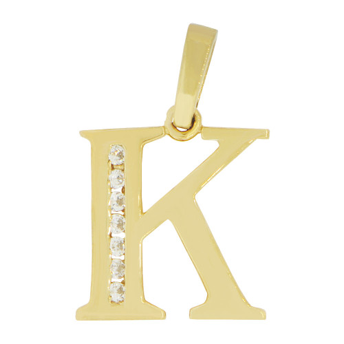14k Yellow Gold, Initial Capital Letter K Pendant Charm Created CZ 14mm (P042-011)