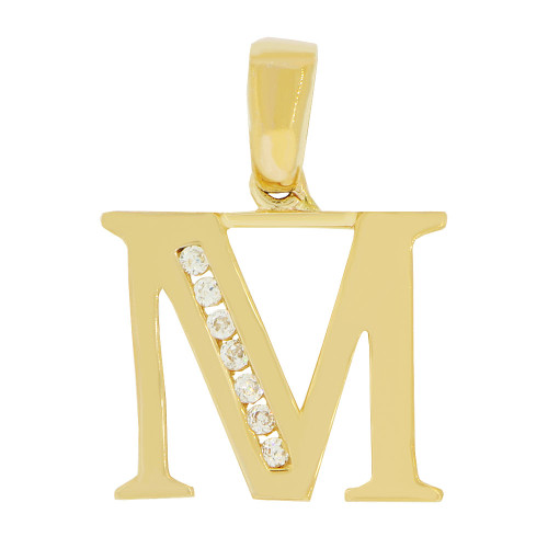 14k Yellow Gold, Initial Capital Letter M Pendant Charm Created CZ 15mm (P042-013)