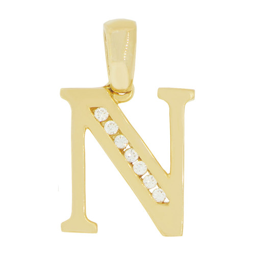 14k Yellow Gold, Initial Capital Letter N Pendant Charm Created CZ 12mm (P042-014)