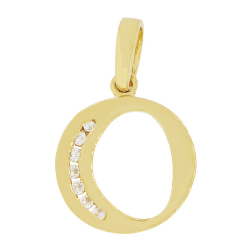14k Yellow Gold, Initial Capital Letter O Pendant Charm Created CZ 13mm (P042-015)