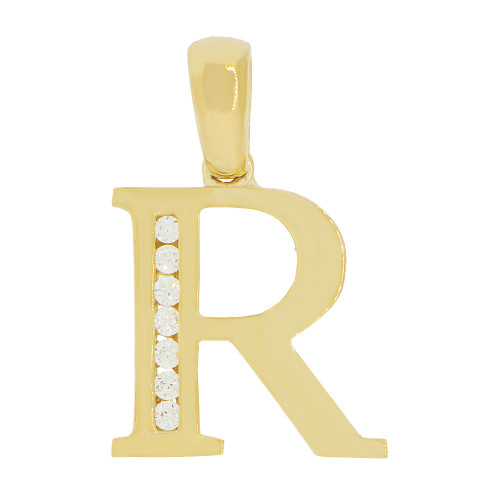 14k Yellow Gold, Initial Capital Letter R Pendant Charm Created CZ 13mm (P042-018)