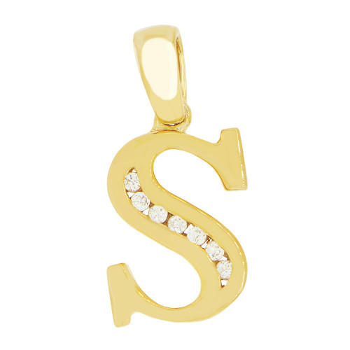 14k Yellow Gold, Initial Capital Letter S Pendant Charm Created CZ 10mm (P042-019)