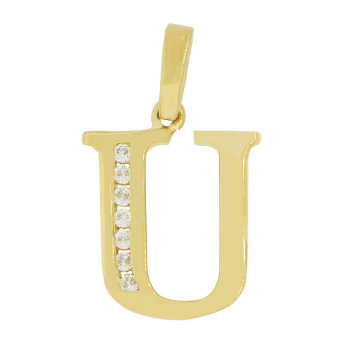 14k Yellow Gold, Initial Capital Letter U Pendant Charm Created CZ 12mm (P042-021)