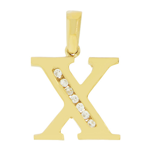 14k Yellow Gold, Initial Capital Letter X Pendant Charm Created CZ 13mm (P042-024)