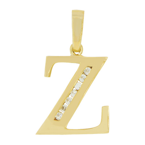 14k Yellow Gold, Initial Capital Letter Z Pendant Charm Created CZ 12mm (P042-026)