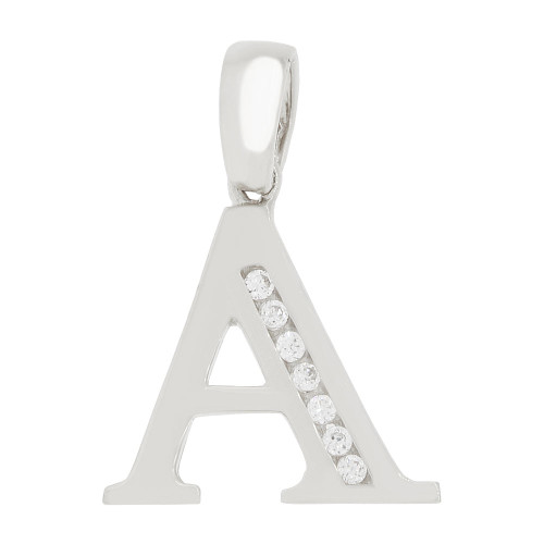 14k Gold White Rhodium, Initial Capital Letter A Pendant Charm Created CZ 14mm (P042-051)