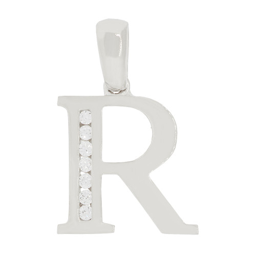 14k Gold White Rhodium, Initial Capital Letter R Pendant Charm Created CZ 13mm (P042-068)