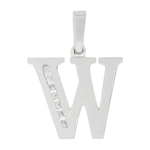14k Gold White Rhodium, Initial Capital Letter W Pendant Charm Created CZ 15mm (P042-073)