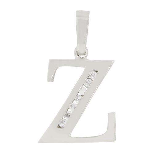 14k Gold White Rhodium, Initial Capital Letter Z Pendant Charm Created CZ 12mm (P042-076)