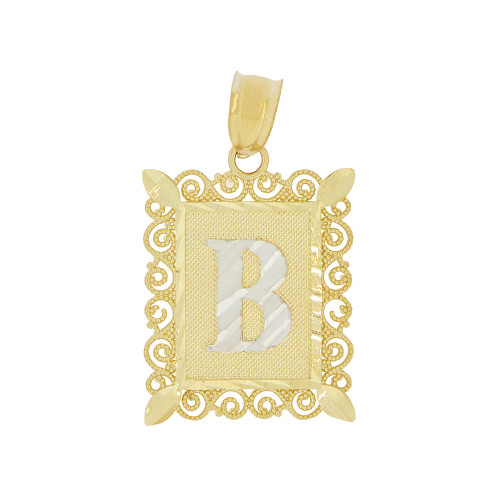 14k Yellow Gold White Rhodium, Initial Letter B Pendant Charm Sparkling Filigree 16mm Wide (P043-002)