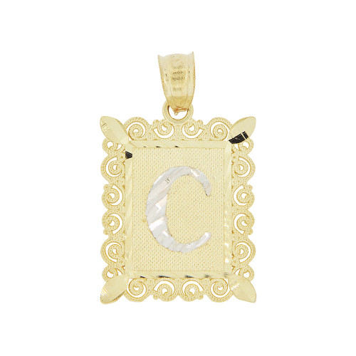 14k Yellow Gold White Rhodium, Initial Letter B Pendant Charm Sparkling Filigree 16mm Wide (P043-003)