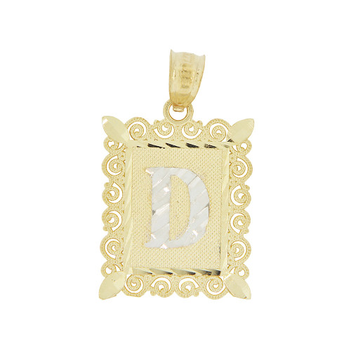 14k Yellow Gold White Rhodium, Initial Letter D Pendant Charm Sparkling Filigree 16mm Wide (P043-004)