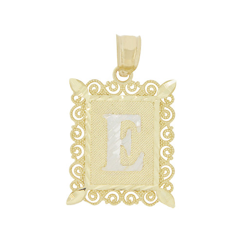14k Yellow Gold White Rhodium, Initial Letter E Pendant Charm Sparkling Filigree 16mm Wide (P043-005)