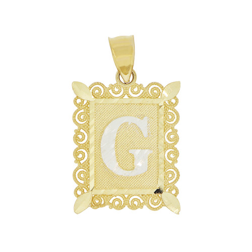14k Yellow Gold White Rhodium, Initial Letter G Pendant Charm Sparkling Filigree 16mm Wide (P043-007)