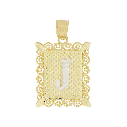 14k Yellow Gold White Rhodium, Initial Letter J Pendant Charm Sparkling Filigree 16mm Wide (P043-010)