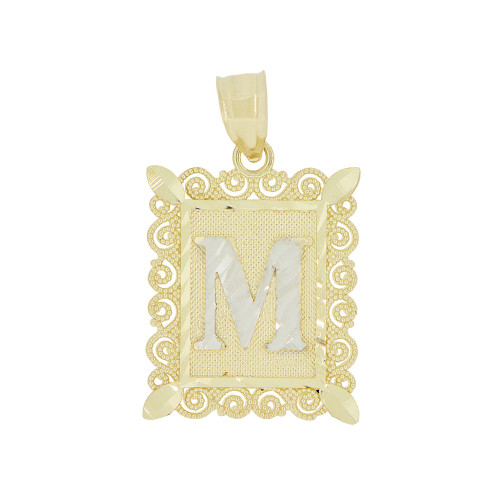 14k Yellow Gold White Rhodium, Initial Letter M Pendant Charm Sparkling Filigree 16mm Wide (P043-013)