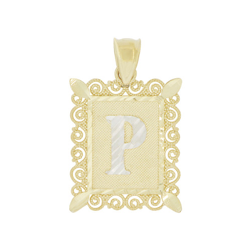 14k Yellow Gold White Rhodium, Initial Letter P Pendant Charm Sparkling Filigree 16mm Wide (P043-016)
