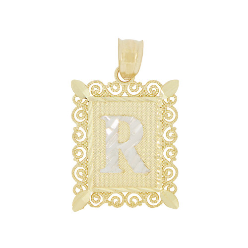 14k Yellow Gold White Rhodium, Initial Letter R Pendant Charm Sparkling Filigree 16mm Wide (P043-018)