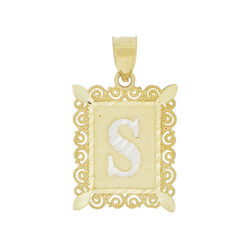 14k Yellow Gold White Rhodium, Initial Letter S Pendant Charm Sparkling Filigree 16mm Wide (P043-019)