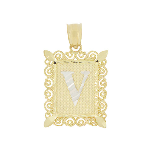 14k Yellow Gold White Rhodium, Initial Letter V Pendant Charm Sparkling Filigree 16mm Wide (P043-022)