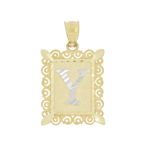 14k Yellow Gold White Rhodium, Initial Letter Y Pendant Charm Sparkling Filigree 16mm Wide (P043-025)