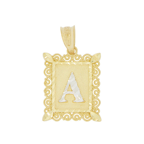 14k Yellow Gold White Rhodium, Small Initial Letter A Pendant Charm Sparkling Filigree 12mm Wide (P043-051)