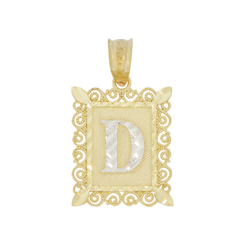 14k Yellow Gold White Rhodium, Small Initial Letter D Pendant Charm Sparkling Filigree 12mm Wide (P043-054)