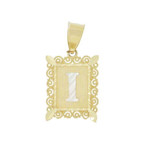 14k Yellow Gold White Rhodium, Small Initial Letter I Pendant Charm Sparkling Filigree 12mm Wide (P043-059)