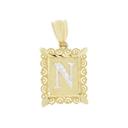 14k Yellow Gold White Rhodium, Small Initial Letter N Pendant Charm Sparkling Filigree 12mm Wide (P043-064)