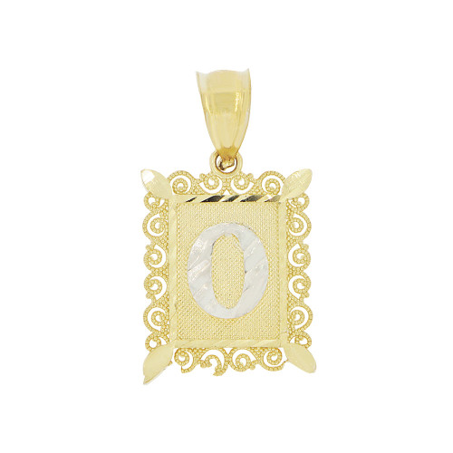 14k Yellow Gold White Rhodium, Small Initial Letter O Pendant Charm Sparkling Filigree 12mm Wide (P043-065)